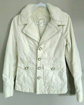 Diesel Womens Large Ivory White Quilted Denim Jean Jacket Coat Faux Fur  - $49.49