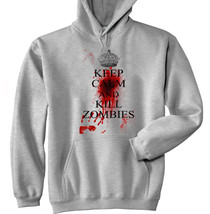 KEEP CALM AND KILL ZOMBIES - NEW COTTON GREY HOODIE - ALL SIZES IN STOCK - $40.47