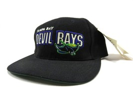 90s Tampa Bay Devil Rays MLB Black Baseball Adjustable Snap Back Hat NOS... - $49.45