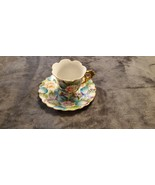 VINTAGE FOOTED DEMITASE HAND PAINTED GOLD RIMMED CUP AND SAUCER - BEAUTIFUL - $50.00