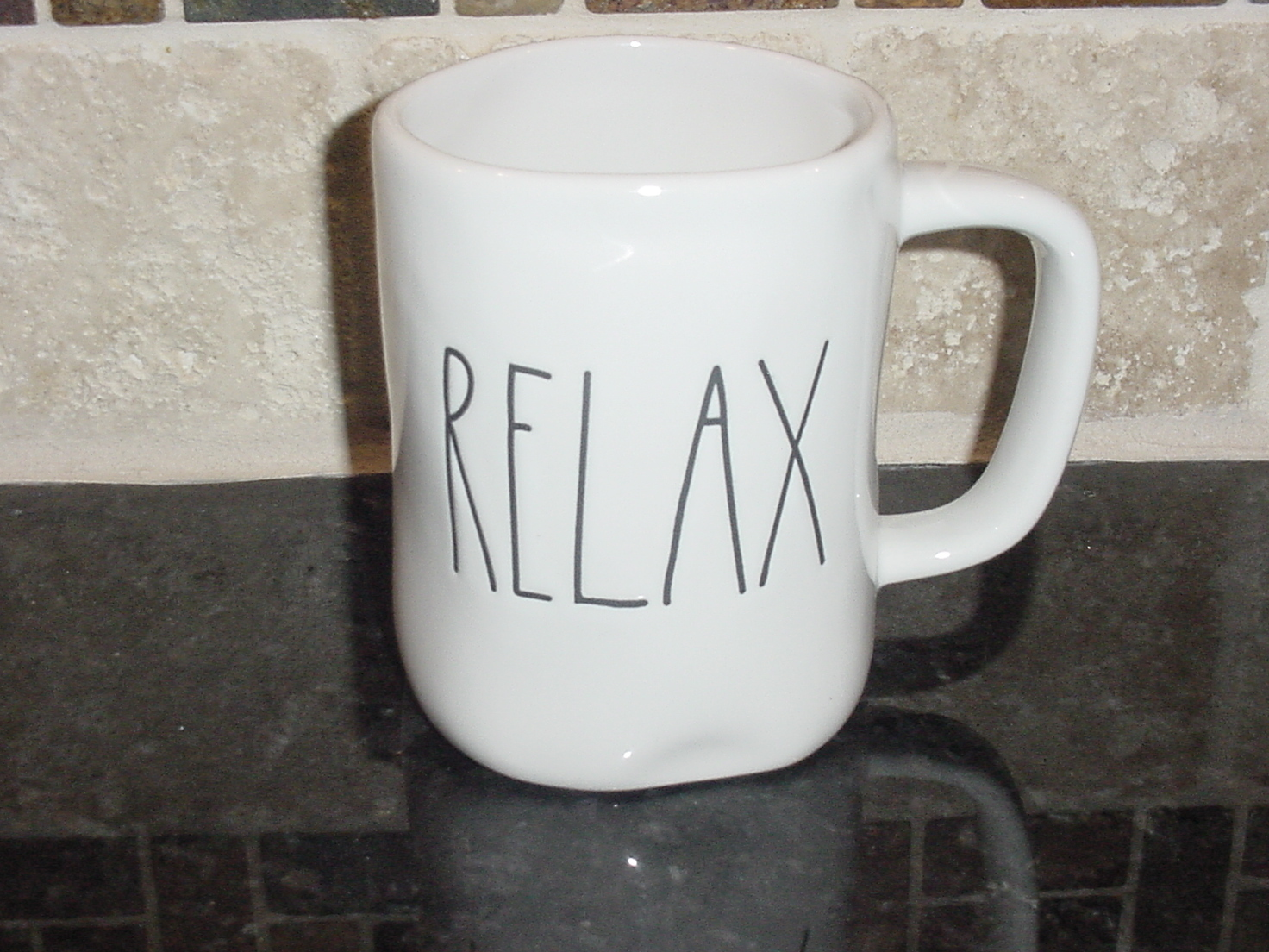 Rae Dunn RELAX Mug, Ivory with Black Lettering