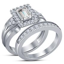14K White Gold 925 Silver Emerald Cut Cubic Zirconia Bridal engagement R... - $75.00