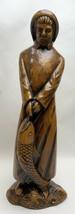 "14"" 1962 FISHERMAN Vtg Treasure Craft Compton California Art Pottery Cod Fishing - $44.55"
