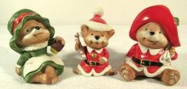 Vintage Christmas Set Lot Homco 3 Bears Papa Mama Baby Santa Figurines Ceramic - $22.75