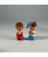 "Vintage Plastic Plastic Praying Girl Kneeling Boy Figures Hong Kong 2"" Tall - $9.85"
