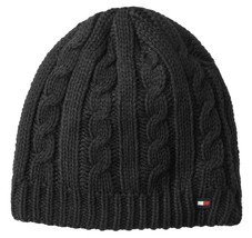 NEW MENS TOMMY HILFIGER CABLE KNIT FLEECE LINED CHARCOAL GREY BEANIE HAT - $22.76