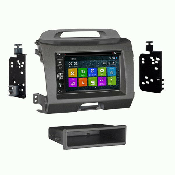 DVD GPS Navigation In Dash Radio and Dash Kit for Kia Sportage 2011-16 Grey