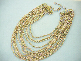 9 Strand Frosty n Shiny Gold Tone Chains Necklace Curb Rope Lightweight ... - $12.82