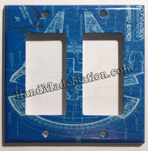 Star Wars Millennium Falcon Blueprint Switch Outlet wall Cover Plate Home Decor image 5