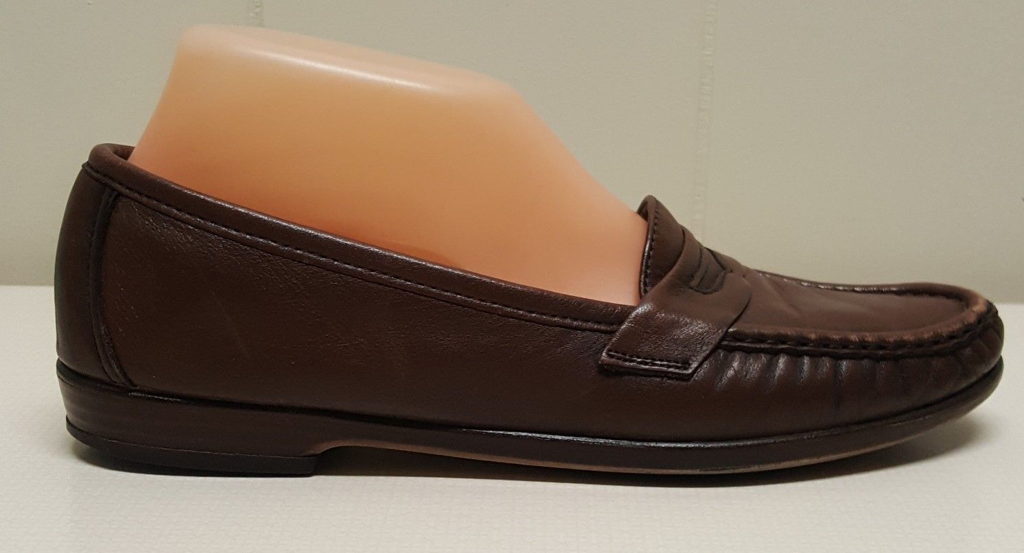 SAS 9S Brown Penny Loafers Shoes Slip On Tripad Comfort WINK Moc Toe USA Leather
