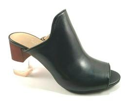 Aerosoles Birdwatcher Black Leather Peep Toe Slip On Mules  - $71.20
