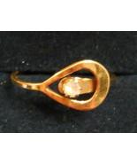 Avon LOOP RING April Birthstone RHINESTONE size 5 Nickel Free GoldPlated... - $19.75
