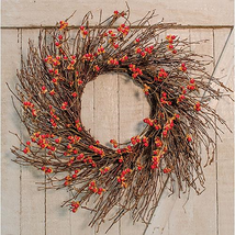 "Country Bittersweet Wreath burnt orange berries poseable brown twigs  22"" - $35.64"
