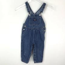 Vintage Oshkosh B' Gosh Girls Denim Overalls 2T Blue Jeans Vestbak Snap Leg Hem - $24.74