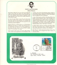 Ethel Waters, Singers, Postal Commemorative Society, 1st Day, 29 cent Stamp - $2.25