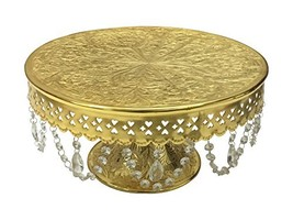 """GiftBay Wedding Cake Stand Round Pedestal Gold finish 14"""" with Glass Cle... - $73.23"""