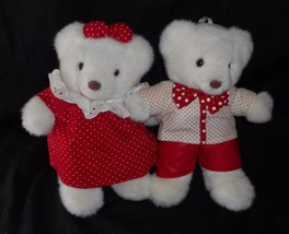 2 VINTAGE 1991 COMMONWEALTH WHITE & RED TEDDY BEAR STUFFED ANIMAL PLUSH TOY - $31.09