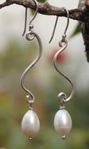 White Cultured Pearl Dangle Earring 925 Sterling Silver 2.35x0.35 Handma... - $14.01