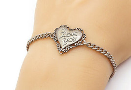 925 Sterling Silver - Vintage I Love You Etched Heart Chain Bracelet - B... - $31.94