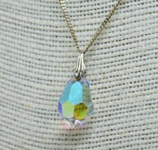 Vintage Sterling Silver necklace with Swarovski coloured Pendant 16 inch... - $30.68