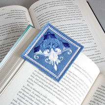 Bookmark, Blue Embroidered Felt Book Mark, Literary Gift For Her, MADE T... - $15.00