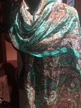 Vintage Echo Green Floral Paisley Neck Silk Scarf Wrap Shawl - $34.65