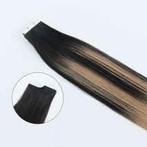 Sixstarhair Premium Balayage Tape In Hair Extensions New Trend Balayage Dark Bro image 4