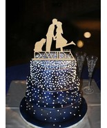 Buythrow® Personalized Custom Name Groom Kiss Bride With Cat Cake Topper... - $24.01
