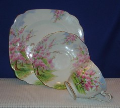 """Lovely BLOSSOM TIME TRIO Footed Tea Cup, Saucer & 7.5"""" Salad Plate ROYAL... - $33.94"""