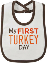 NEW Carter's My First Thanksgiving Day Bib With Brown Trim - $8.86
