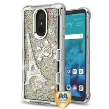 Eiffel Tower TUFF Quicksand Glitter Hybrid Cover for LG Stylo 4 Plus/Sty... - $13.39