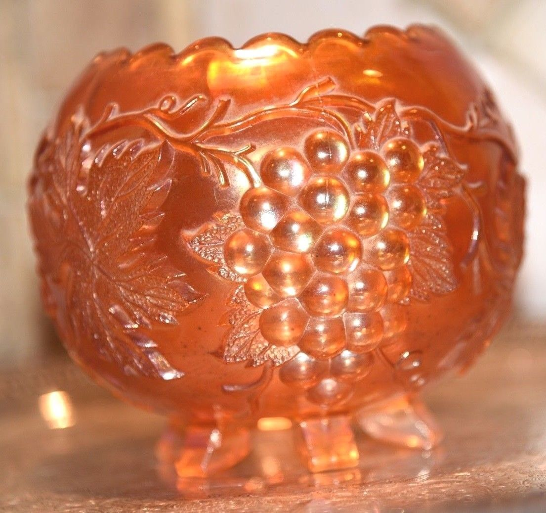 Primary image for Fenton Carnival Glass Marigold Iridescent Bowl Grape Pattern Saw Tooth Rim Foot