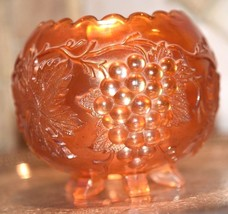 Fenton Carnival Glass Marigold Iridescent Bowl Grape Pattern Saw Tooth R... - $49.99