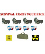 FAMILY SURVIVAL 4 Pack Serbian NBC Military GAS MASKS and N95 Disease Ki... - $296.95