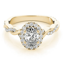 Forever Brilliant Oval Moissanite with Diamond Halo & Petite Twisted Pav... - $1,595.00