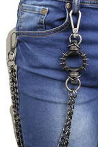 Men Antique Silver Pewter Metal Wallet Chain KeyChain Leather Spikes Jeans Biker - $26.45