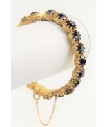 ESTATE VINTAGE Jewelry SUPER HIGH END PURPLE RHINESTONE HINGED BANGLE BR... - $45.00