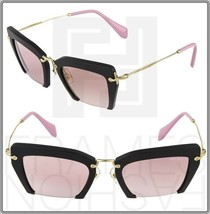 MIU MIU NOIR RASOIR 10Q Square Matte lack Pink Gold Mirrored Women MU10QS - $296.01