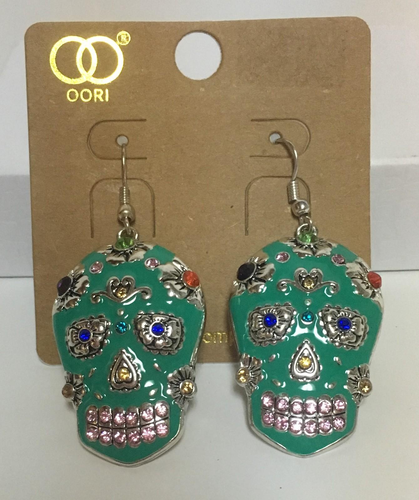 Day of Dead Skull Earrings Multi - Color