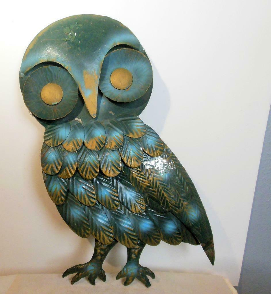 "Vintage Metal Owl Wall Sculpture 16 x 13"" Hong Kong Facing Left"