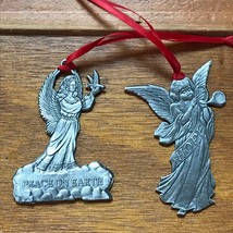 Lot of 2 ELS Signed & Dated Detailed Pewter Angels HOPE & Peace on Earth... - $13.99