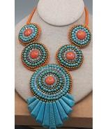 orange hemp big bib necklace with turquoise bronze orange accents beads - $5.49