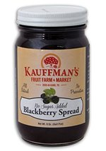 Kauffman's Blackberry Fruit Spread, No Sugar Added, 9 Oz. Jar (Pack of 4) - $30.63
