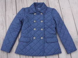 Ralph Lauren Girls XL 16 Navy Blue Double Breasted Quilted Barn Coat Jacket - $49.40