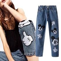 Jeans Women Fachion Mickey england style vintage Mouse BoyFriend Denim Fashion - $27.00+