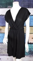 Ann Taylor LOFT Small S Black V-Neck Ruched Stretch Micro Modal Surplice... - $24.74