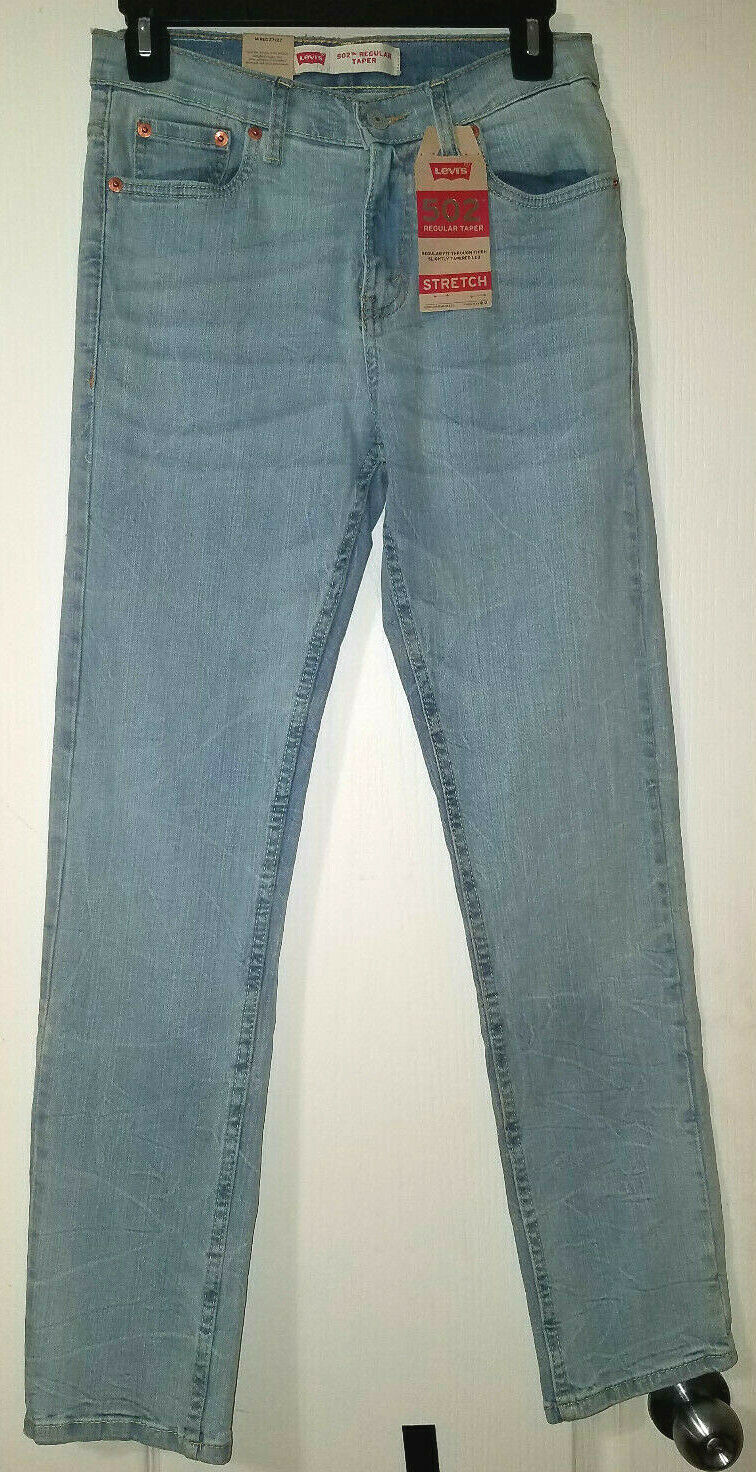 Primary image for LEVI'S 502 Girl's L Blue Regular Fit Taper Stretch Jeans Size 14 W27 L27 NEW $48