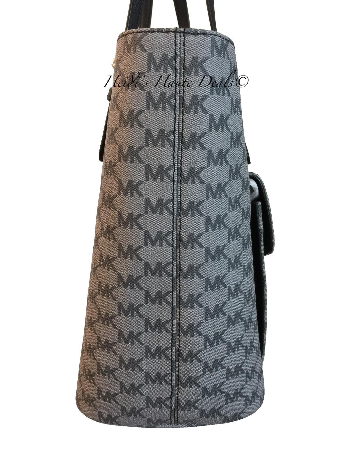 4d1eb4f50d42 NWT MICHAEL KORS Jet Set Large Pocket Tote Black Gray Logo Multi Function  Bag