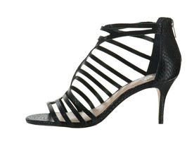 Vince Camuto Leather Cut-Out Heeled Sandals Petronia Black 11W NEW A353559 - $92.05