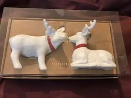 Pottery Barn Set 2 Stag Salt Pepper Shakers White Christmas Deer Reindee... - £12.14 GBP